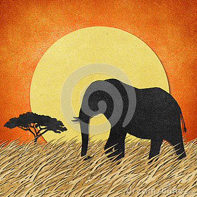 Free Elephant In Safari Field Recycled Paper Background Royalty Free Stock Photography - 26010887