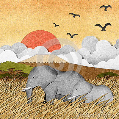 Free Elephant In Safari Field Recycled Paper Background Stock Photo - 26011120