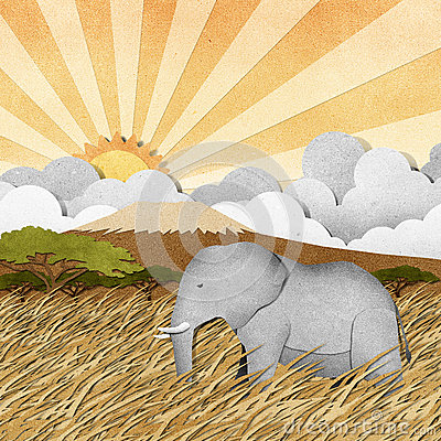 Free Elephant In Safari Field Recycled Paper Background Royalty Free Stock Photography - 26011517