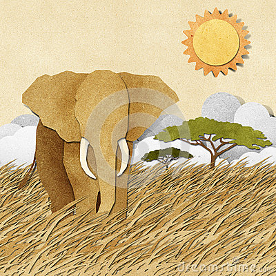 Free Elephant In Safari Field Recycled Paper Background Stock Photos - 26012173