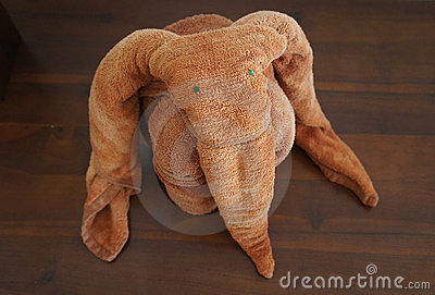 Elephant made of towels.