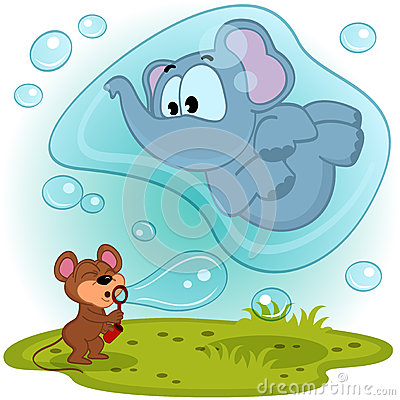 Free Elephant Mouse And Bubble Blower Royalty Free Stock Photography - 38081867
