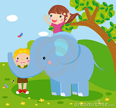Elephant and people