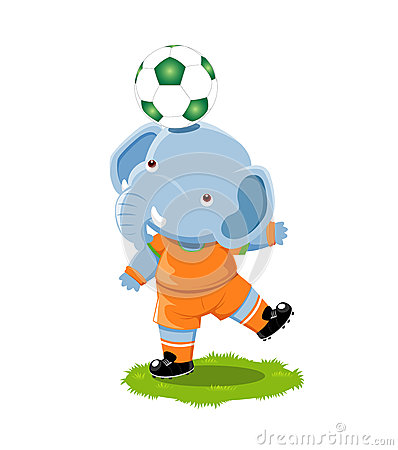 Elephant playing football
