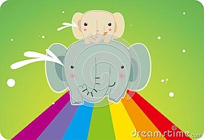 Elephant on the rainbow