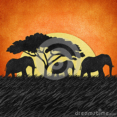 Elephant recycled paper background