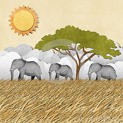 Free Elephant Recycled Paper Background Royalty Free Stock Photo - 26162145