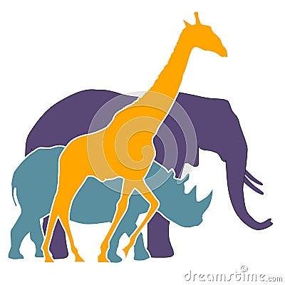 Elephant, rhinoceros, giraffe