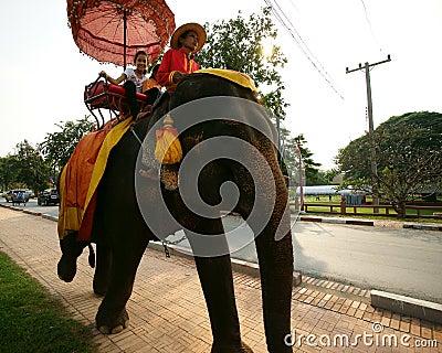 Elephant Ride, Ayutthaya, Thailand. Editorial Stock Photo