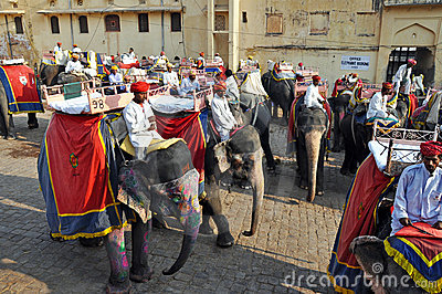 Elephant Riders in the Amber Fort , India Editorial Stock Photo