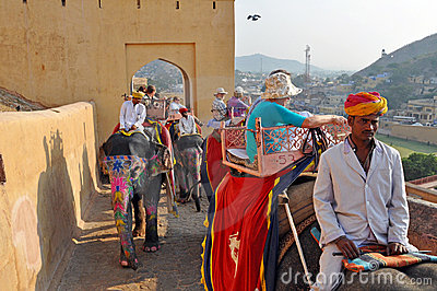 Elephant Riders in the Amber Fort , India Editorial Photo