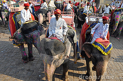 Elephant Riders in the Amber Fort, India Editorial Photo