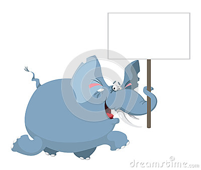 Elephant with a sign