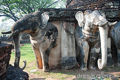 Elephant statue at pagoda in ancient temple .