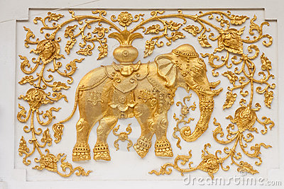 Elephant in traditional Thai style molding art