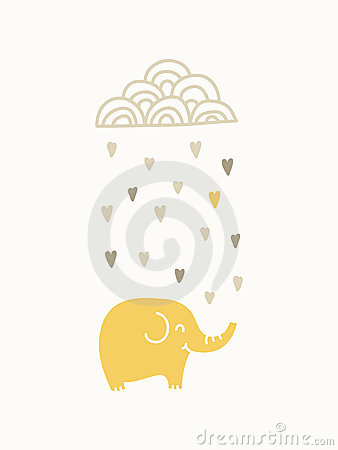 Elephant under raining cloud
