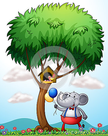 An elephant under the tree