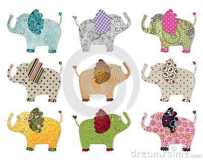 Elephants.  Digital quilting
