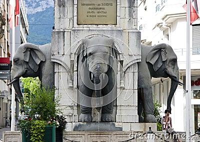 Elephants monument Editorial Stock Photo