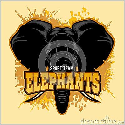 Elephants - sport club team symbol. Safari hunt badge of yellow, elephant tusk. Vector Illustration