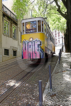 Elevador da Gloria, Lisbon, Portugal Editorial Stock Image