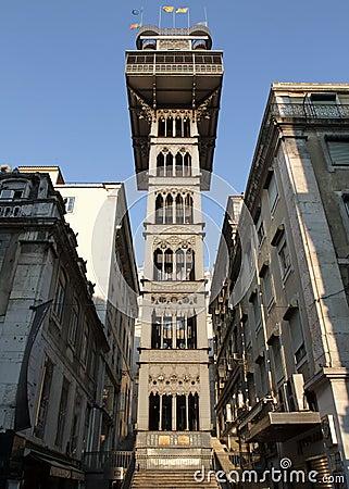 Elevador de Santa Justa, Lisbon, Portugal Editorial Image