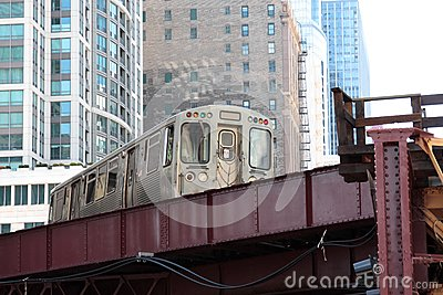 Elevated commuter train in the city