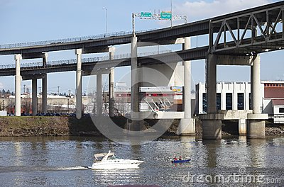 Elevated freeway & boats, Portland Oregon.