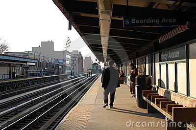 An elevated train stop in New York City Editorial Photo