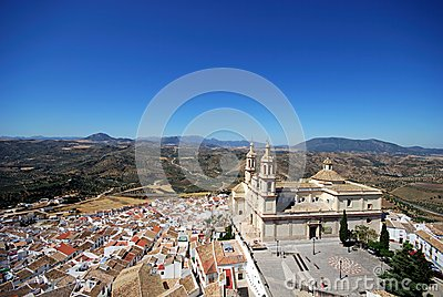 Church and town, Olvera, Andalusia.