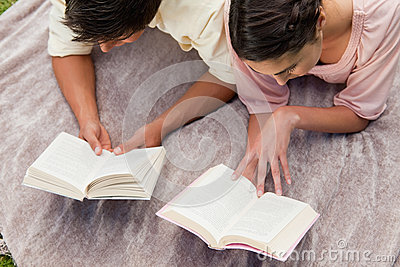 Elevated view of two friends reading while on a blanket
