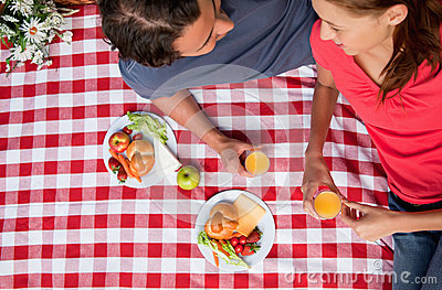 Elevated view of two smiling friends as they lie on a blanket with a picnic