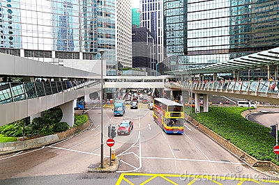 Elevated walkway downtown hong kong Editorial Stock Image