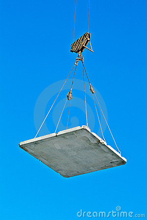 Free Elevating Crane Lifting A Concrete Plate Stock Photo - 23540730