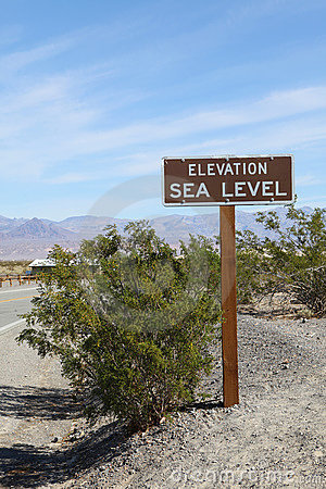 Elevation Sea Level Sign