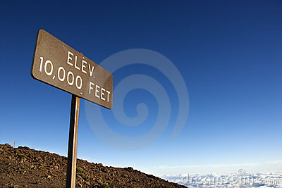 Elevation sign in Maui, Hawaii.