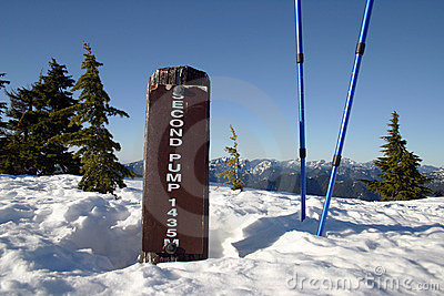 A elevation sign in snow mountain
