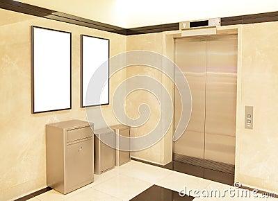 Elevator and blank billboard