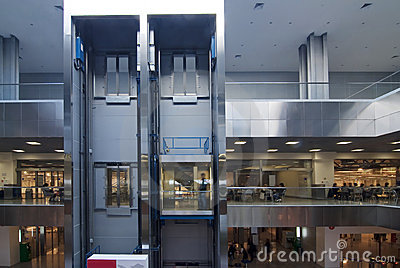 Elevator in a modern business center