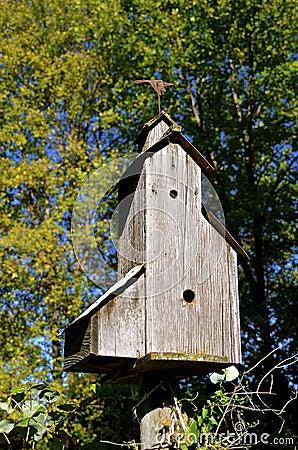 Elevator styled wren birdhouse Stock Photo
