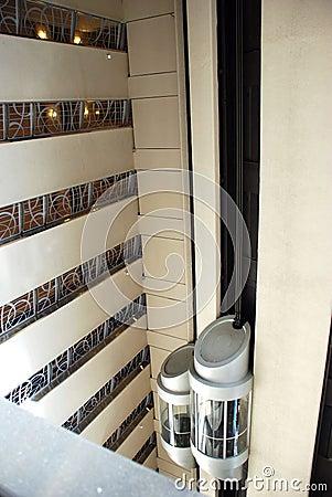 Elevators inside skyscraper