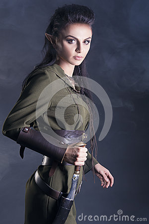 beautiful elf with a knife