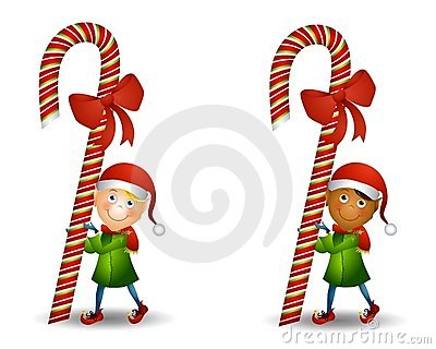 Elf Carrying Candy Cane