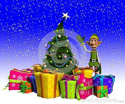 Elf And Christmas Tree With Snow Stock Images - Image: 28002474