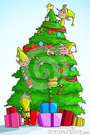 Elf decorating Christmas Tree