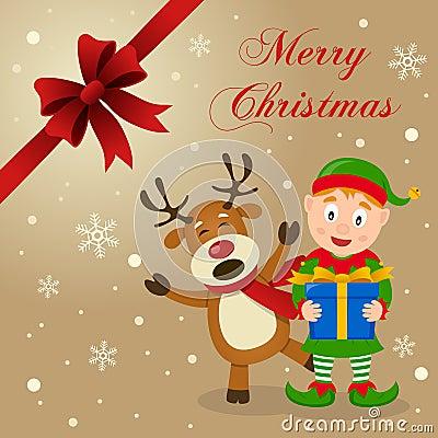 Elf funny reindeer christmas card for Funny reindeer christmas cards