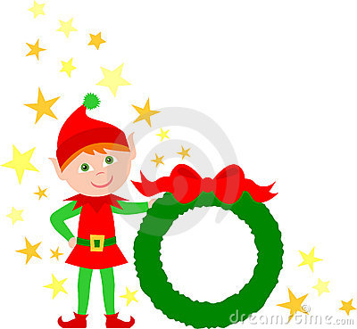 Elf Holding Christmas Wreath/eps