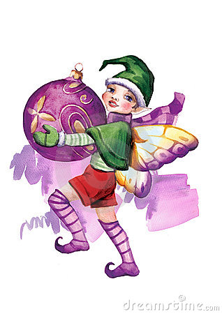 Elf withсhristmas-tree decorations