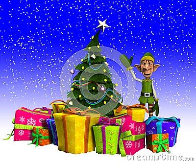 Elf I choinka Z śniegiem
