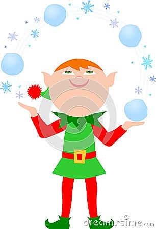 Elf Juggling Snowballs/eps